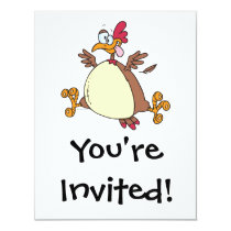 crazy chicken hen cartoon invitation