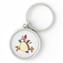 crazy chicken hen cartoon keychain