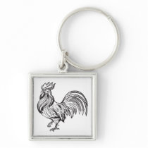 Crazy Chicken Lady Country Girl Farmer Rooster Keychain