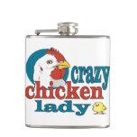 Crazy Chicken Lady Hip Flask