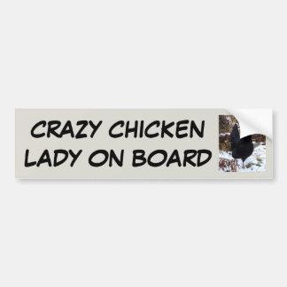 Crazy chicken lady on board bumper sticker