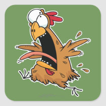 Crazy Chicken Square Stickers