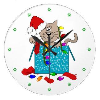 Crazy Christmas Cat Funny Naughty Cat Cartoon Large Clock
