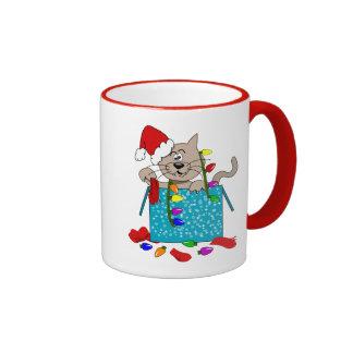 Crazy Christmas Cat Funny Naughty Cat Cartoon Ringer Mug