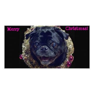 Crazy Christmas Pug photo card