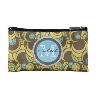 Crazy Cirlces Brown Blue Yellow Monogram Makeup Bag