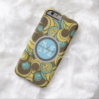 Crazy Cirlces Brown Blue Yellow Monogram Barely There iPhone 6 Case