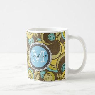 Crazy Cirlces Brown Blue Yellow Monogram Coffee Mug