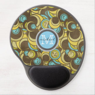 Crazy Cirlces Brown Blue Yellow Monogram Gel Mouse Pad