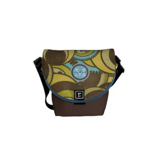 Crazy Cirlces Brown Blue Yellow Monogram Messenger Bag