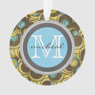 Crazy Cirlces Brown Blue Yellow Monogram Ornament