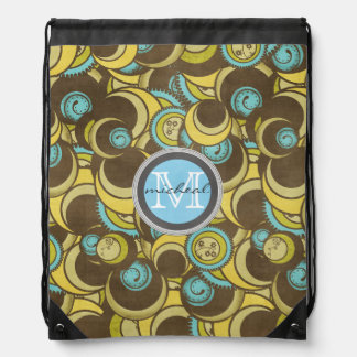 Crazy Cirlces Brown Blue Yellow Monogram Drawstring Backpack