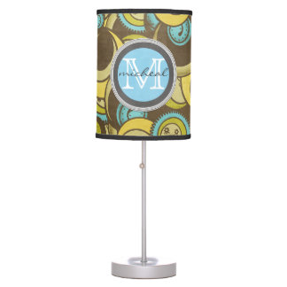 Crazy Cirlces Brown Blue Yellow Monogram Table Lamp