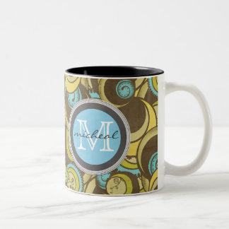 Crazy Cirlces Brown Blue Yellow Monogram Two-Tone Coffee Mug