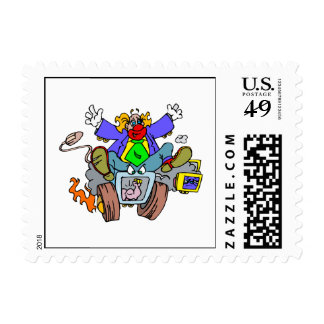 Crazy Clown Guy Postage Stamps