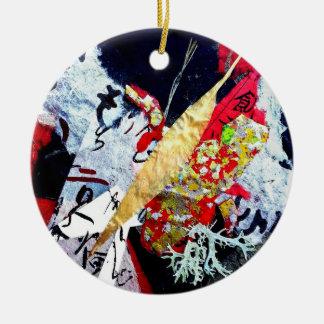 Crazy Collage, artist Andrea Erickson Ceramic Ornament