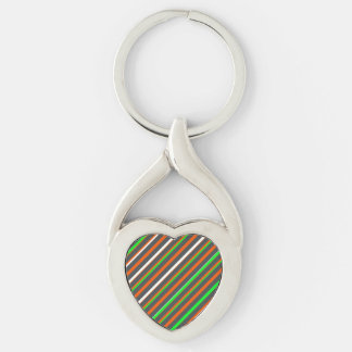 Crazy Color Stripe Heart Keychain