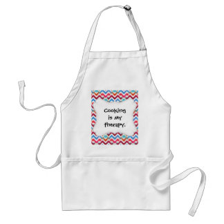 Crazy Colorful Chevron Stripes Zig Zags Pink Blue Adult Apron