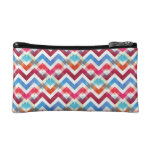 Crazy Colorful Chevron Stripes Zig Zags Pink Blue Cosmetic Bags