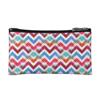 Crazy Colorful Chevron Stripes Zig Zags Pink Blue Makeup Bag