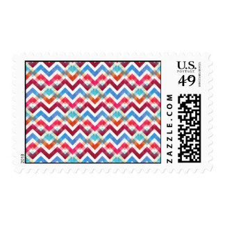 Crazy Colorful Chevron Stripes Zig Zags Pink Blue Postage