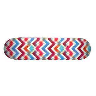 Crazy Colorful Chevron Stripes Zig Zags Pink Blue Skateboard