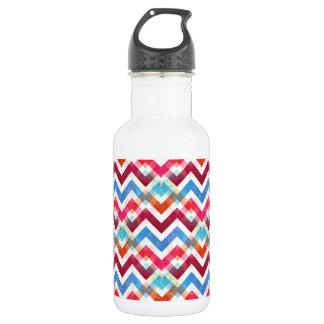 Crazy Colorful Chevron Stripes Zig Zags Pink Blue Stainless Steel Water Bottle
