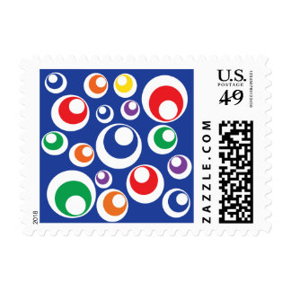Crazy Colorful Circle Balls Blue Pattern Postage