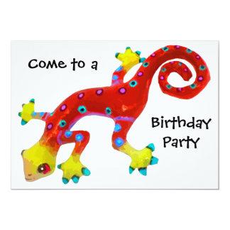 "Crazy Colorful Lizard Birthday Party 5"" X 7"" Invitation Card"