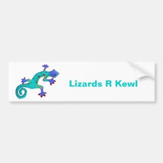 Crazy Colorful Lizard Car Bumper Sticker