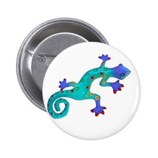 Crazy Colorful Lizard Button