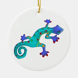 Crazy Colorful Lizard Ceramic Ornament