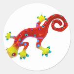 Crazy Colorful Lizard Classic Round Sticker