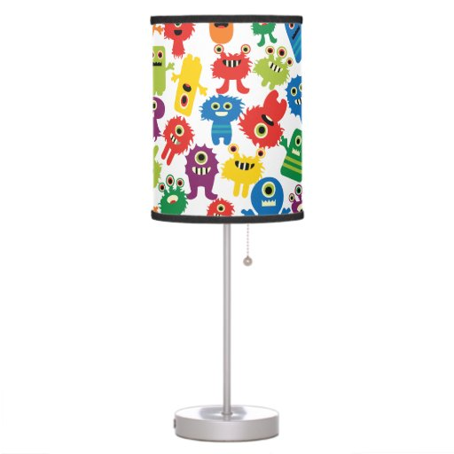 Crazy Colorful Monsters Kids Table Lamp