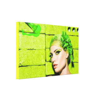 crazy_colors_1 Green Fashion Model beauty style Canvas Print