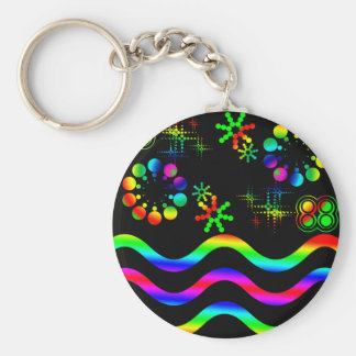 Crazy colors and shapes basic round button keychain