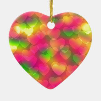 Crazy Colors, Hearts Bokeh-Heart Ornament