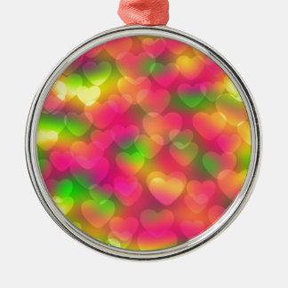 Crazy Colors Hearts Bokeh ROUND ORNAMNET Metal Ornament