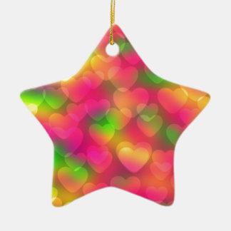 Crazy Colors Hearts Bokeh STAR ORNAMENT