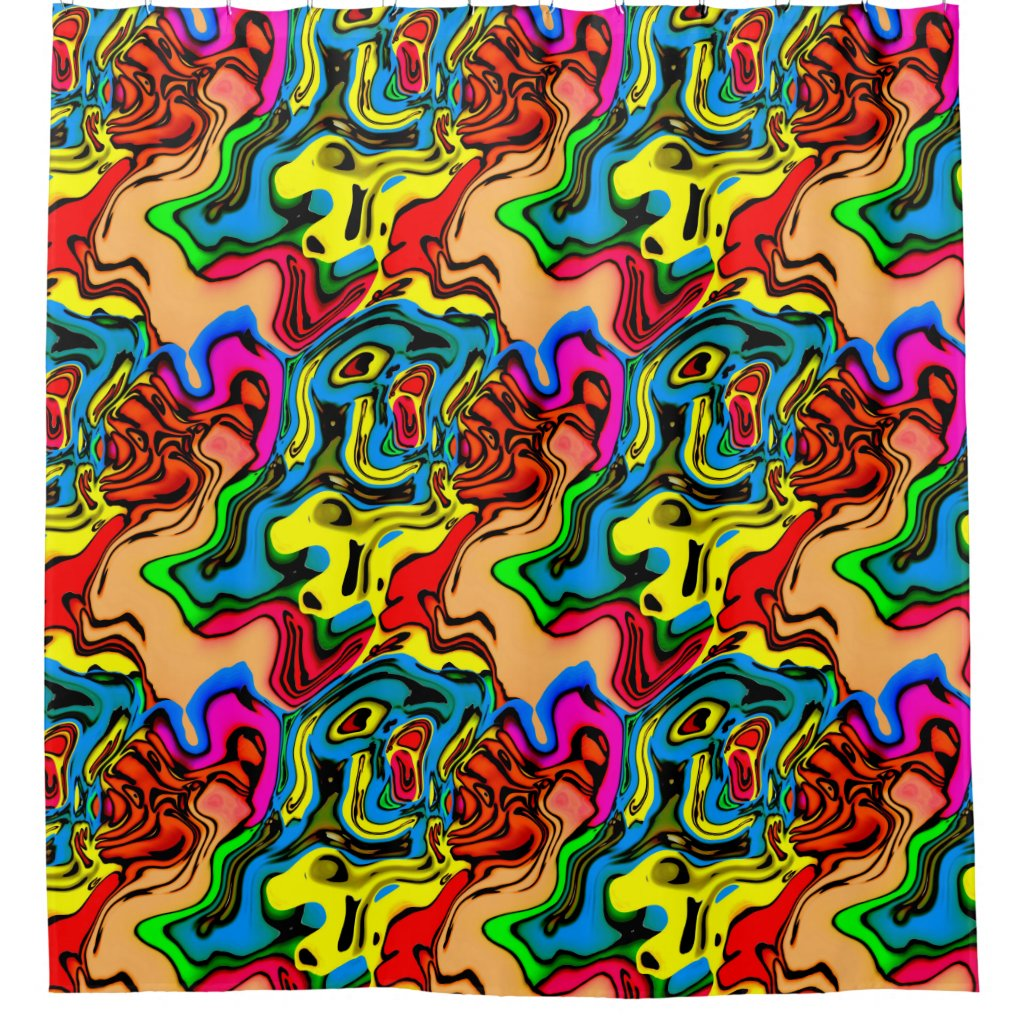 Melted Crazy Colors Shower Curtain
