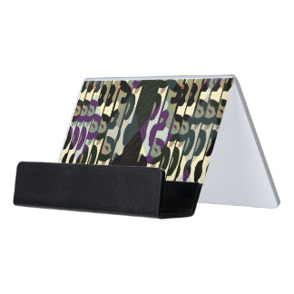 Crazy Cool Cheetah Triangle Pattern Desk Business Card Holder