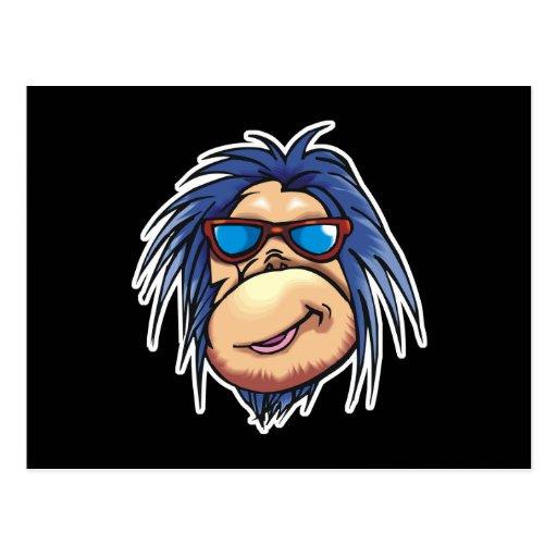 crazy cool monkey face postcard