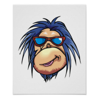 crazy cool monkey face poster