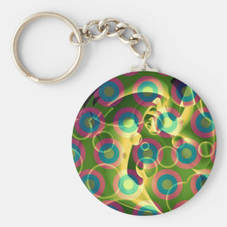 Crazy Cool Psychedelic Rainbow Abstract Basic Round Button Keychain