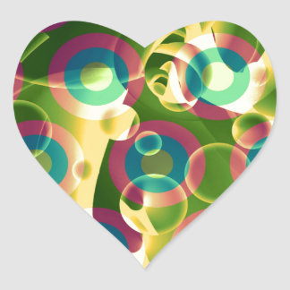 Crazy Cool Psychedelic Rainbow Abstract Heart Sticker