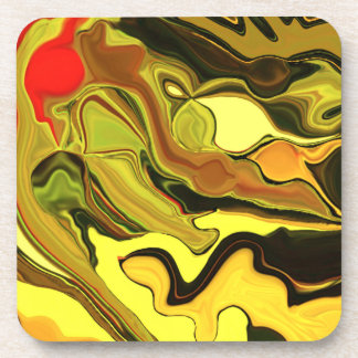 Crazy cool yellow & brown art coaster