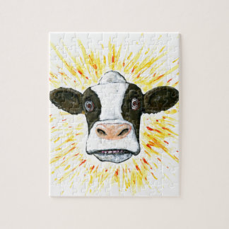 Crazy Cow Face Jigsaw Puzzle