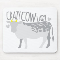 Crazy Cow Lady Mouse Pad