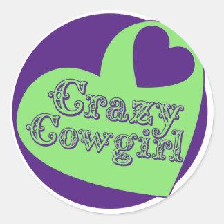 Crazy Cowgirl Classic Round Sticker