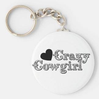 Crazy Cowgirl Basic Round Button Keychain